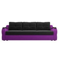 Прямой диван Меркурий еврокнижка Микровельвет Черный/Фиолетовый