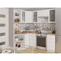 Угловая кухня Валерия М 05 Белый металлик