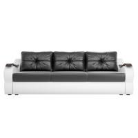 Прямой диван Меркурий еврокнижка Экокожа Черный/Белый