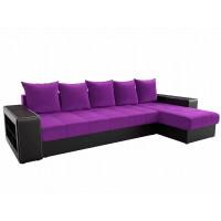 Угловой диван Дубай правый микровельвет Фиолетовый Черный