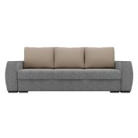 Прямой диван Брион Рогожка серый Бежевые подушки