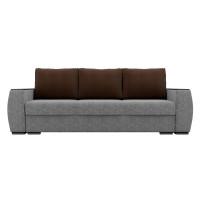 Прямой диван Брион Рогожка Серый Коричневые подушки