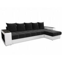 Угловой диван Дубай правый микровельвет Черный Белый