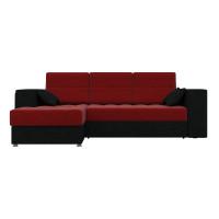 Угловой диван левый Атлантис Микровельвет Красный/Черный