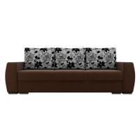 Прямой диван Брион Рогожка Коричневый Белые подушки