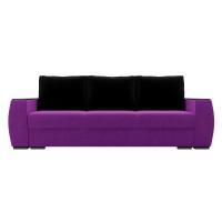 Прямой диван Брион Микровельвет Фиолетовый Черные подушки