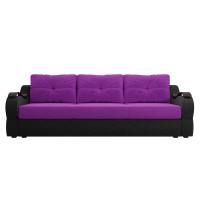 Прямой диван Меркурий еврокнижка Микровельвет Фиолетовый/Черный