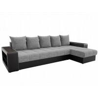 Угловой диван Дубай правый рогожка Серый Черный