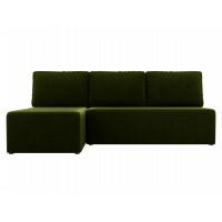 Угловой диван левый Поло Микровельвет Зеленый