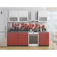Прямая кухня Валерия М 01 Белый металлик/Гранатовый