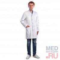 Халат медицинский мужской М 047 ткань Саттори, клепки