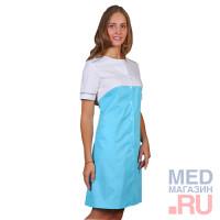 Халат медицинский женский М 030 ткань Саттори,голубой, клепки