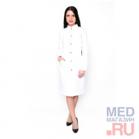 Халат медицинский женский М 013 ткань Саттори, клепки