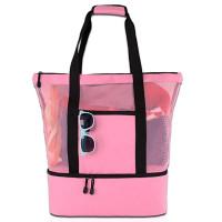 Складная пляжная сумка холодильник, розовый