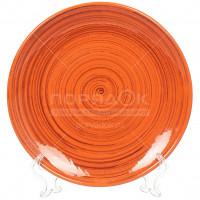 Тарелка обеденная керамическая, 22 см, Оранжевая полоска