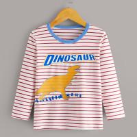 Контрастная полосатая футболка с принтом динозарва