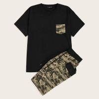 Мужская футболка с карманом и камуфляжные спортивные