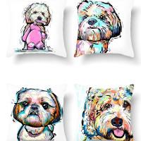 Чехол для подушки с принтом для собак