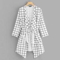 Модное Пальто В Клетку С Увеличенным Струящимся