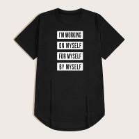 Чёрный Лозунг Повседневный Мужские футболки