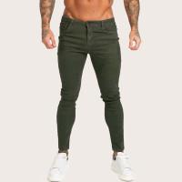 Мужские однотонные облегающие джинсы с пуговицами