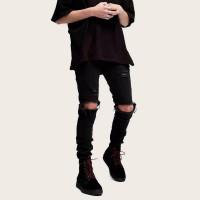 Мужские однотонные рваные джинсы