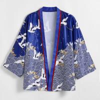 Мужское атласное кимоно с принтом журавля
