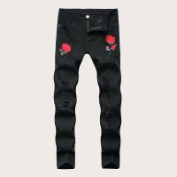 Мужские рваные облегающие джинсы с вышивкой розы