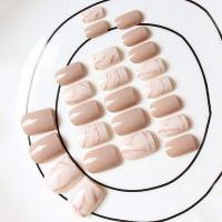 Накладные ногти с мраморным узором 24шт с лентой