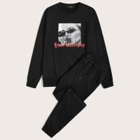 Мужские спортивные брюки и пуловер с графическим
