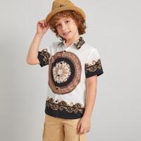 Рубашка с коротким рукавом и принтом шарфа