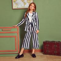 Двухцветный пиджак и палаццо брюки для девочек