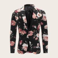 Мужской однобортный пиджак с цветочным принтом