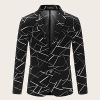 Мужской однобортный пиджак с карманом и геометрическим
