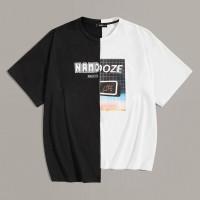 Двухцветная мужская футболка со смешанным принтом