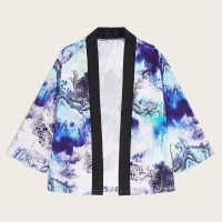 Мужское контрастное кимоно с оригинальным принтом