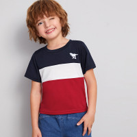Контрастная футболка с вышивкой динозавра для мальчиков