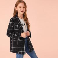 Длинный пиджак с пуговицей для девочек