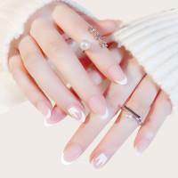 Двухцветный накладные ногти 24шт с лентой
