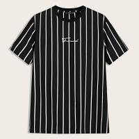 Мужская полосатая футболка с текстовым принтом