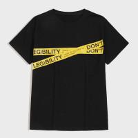 Мужская контрастная футболка с текстовым принтом