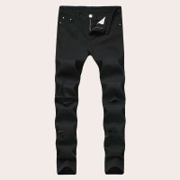 Мужские рваные однотонные обтягивающие джинсы