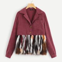 Вельветовое пальто с искусственным мехом