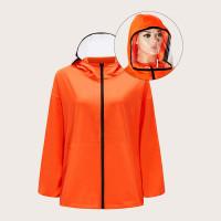 Оранжевый на молнии Одноцветный Повседневный Жакеты