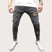 Мужские ребристые приталенные джинсы с графическим принтом