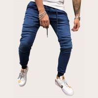 Мужские однотонные джинсы с поясом