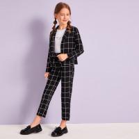 Пиджак в клетку и брюки для девочек