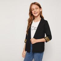 Пиджак с блестками на манжетах для девочек