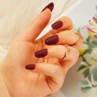 Матовые накладные ногти  24шт с лентой