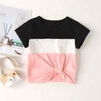 Контрастная футболка для девочек